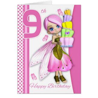 9th Birthday Tipsy Cake Fantasy Fairy Cutie Pie Greeting Card
