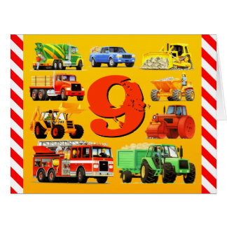9th Birthday Trucks Big Greeting Card