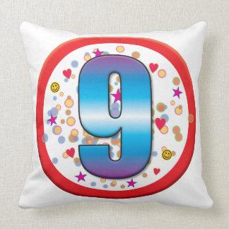 9th Birthday v2 Throw Pillows