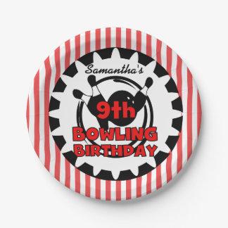 9th Bowling Sports Birthday Paper Plates