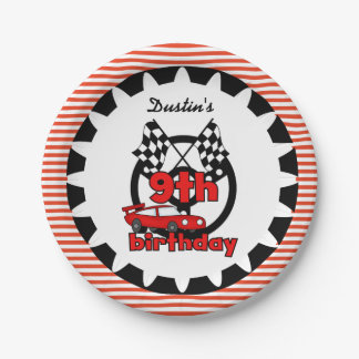 9th Car Racing Birthday Paper Plates 7 Inch Paper Plate