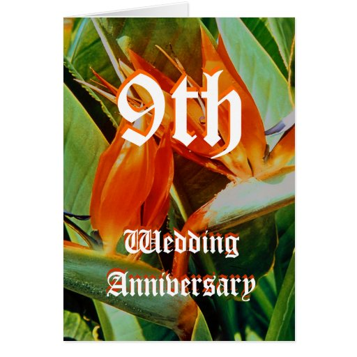 9th Year Wedding Anniversary Gift: 9th Wedding Anniversary Card - Bird Of Paradise