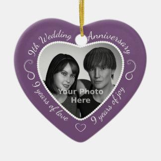 9th Wedding Anniversary Photo Ceramic Ornament