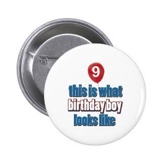 9th year old birthday designs pins
