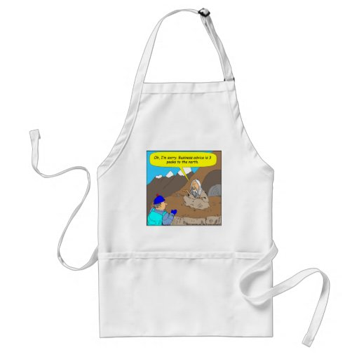 A008 guru business advice cartoon apron
