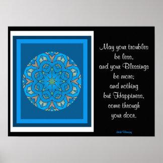 A05 Celtic Kaleidoscopic Mandala - Irish Blessing9 Poster