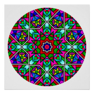 A05 Stained Glass Mandala.2 Poster