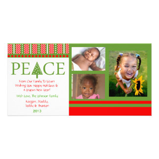 A1 PEACE Tree - PartyWhite Xmas Holiday Photo Card