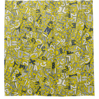 A1B2C3 chartreuse Shower Curtain