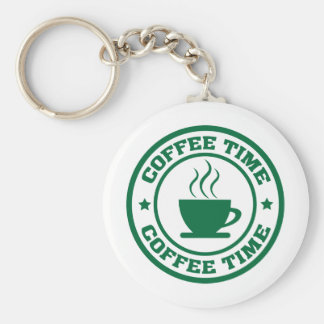 A251 coffee time circle dark green key ring
