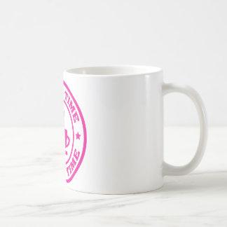 A251 coffee time circle hot pink basic white mug