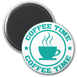 A251 coffee time circle teal 6 cm round magnet