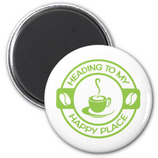 A257 happy place coffee lime green 6 cm round magnet
