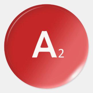 a2 human drop blood type group medicine classic round sticker
