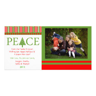 A2 PEACE Tree - PartyWhite Xmas Holiday Photo Card