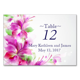 A2-Pink and Green Spring Floral Design Table Card
