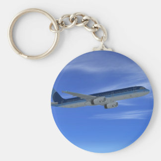 A321 Jet Airliner Aircraft Basic Round Button Key Ring