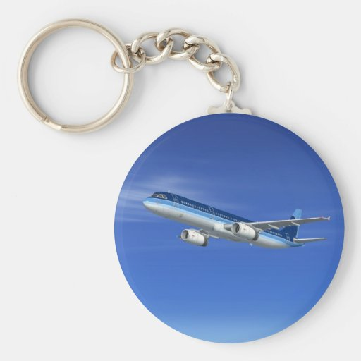 A321 Jet Airliner Aircraft Keychain