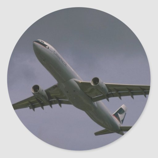 A330 airbus, Cathay Pacific airliner Round Sticker