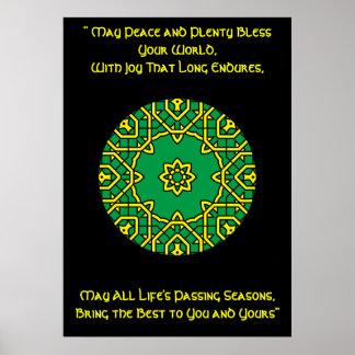 A42 Celtic Kaleidoscopic Mandala- Irish Blessing.6 Poster