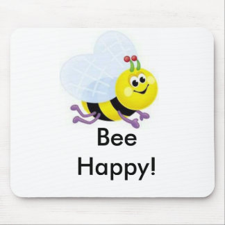 a67_cute_bee, Bee Happy! Mouse Mats
