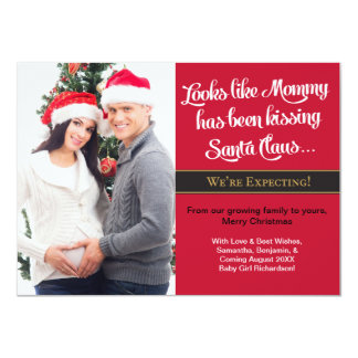 A6 Christmas Card Pregnancy Photo  -Mom 11 Cm X 16 Cm Invitation Card