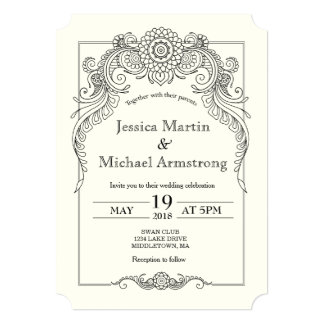 A6-Vintage scroll design wedding invitation card