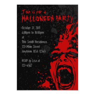 A7 Bloody Scream Halloween Invitations