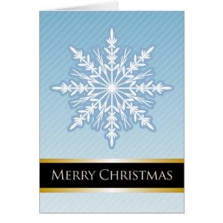 A7 Blue Snowflake Striped Modern Christmas Card