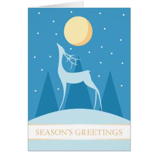 A7 Blue Winter Deer Modern Christmas Card