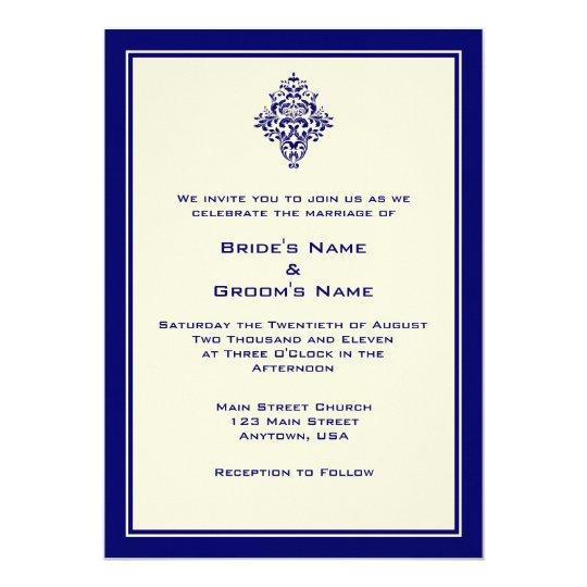 A7 Cream & Royal Blue Simple Wedding Invitations
