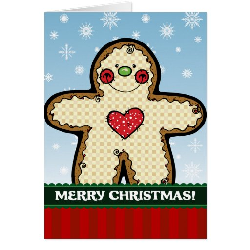 A7 Gingerbread Man Christmas Greeting Card