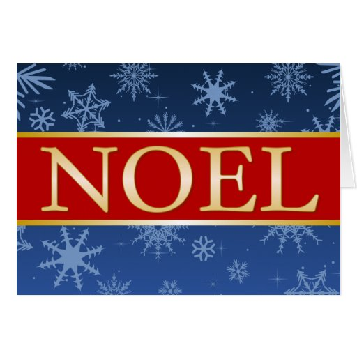 A7 Noel Blue Red and Gold Christmas Card