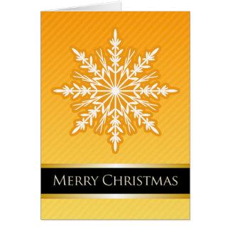 A7 Orange Snowflake Striped Modern Christmas Card