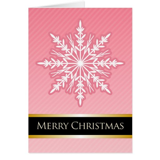 A7 Pink Snowflake Striped Modern Christmas Card
