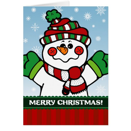 A7 Snowman Merry Christmas Greeting Card
