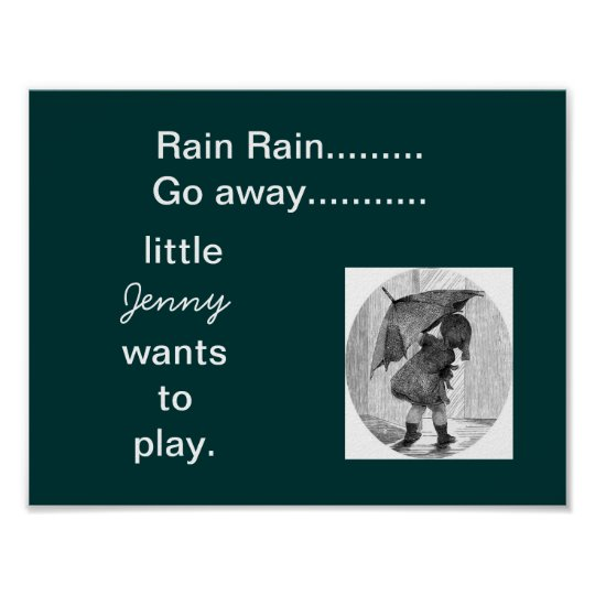 a-11 personalised rain kid's  room decore poster