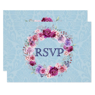 A-1 Pink and Burgundy Floral Bouquet RSVP Card