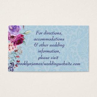 A-1 Pink and Burgundy Floral Wedding Website Card