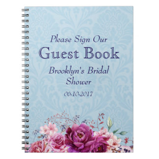 A-1 Pink, Burgundy Floral Bridal Shower Guest Book Spiral Notebooks