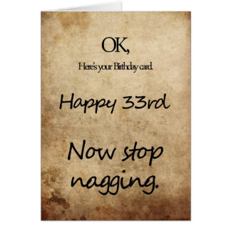 A 33rd birthday for a nag card