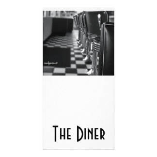 A 4x8 card in Black and White with an old diner Custom Photo Card