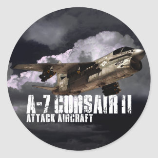 A-7 Corsair II Round Stickers