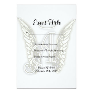 A - Angel Alphabet Initial Letter Wings Halo 9 Cm X 13 Cm Invitation Card