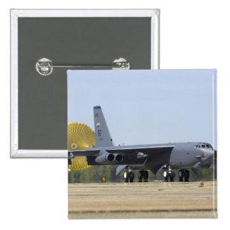 A B-52 Stratofortress deploys its drag chute 15 Cm Square Badge