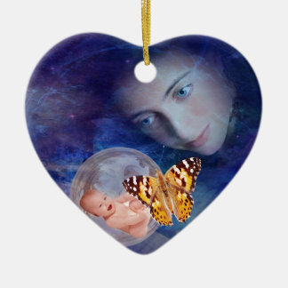 A baby and mother's joy ceramic heart decoration