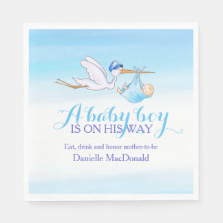 A baby boy is on his way blue napkins disposable napkin