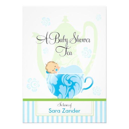 A Baby Shower Tea Party  |  Boy Invitation