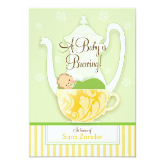 A Baby Shower Tea Party  |  Gender Neutral 13 Cm X 18 Cm Invitation Card