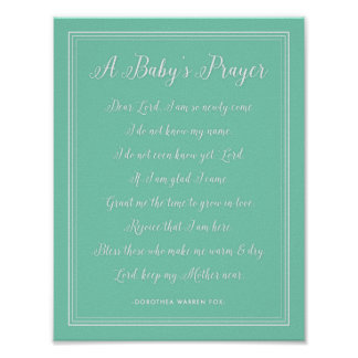 A Baby's Prayer Poem - Art Print Nursery Colors